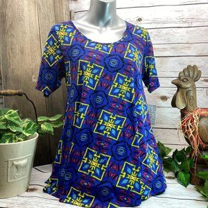 NWT LuLaRoe Perfect T Size S Small Blue Yellow